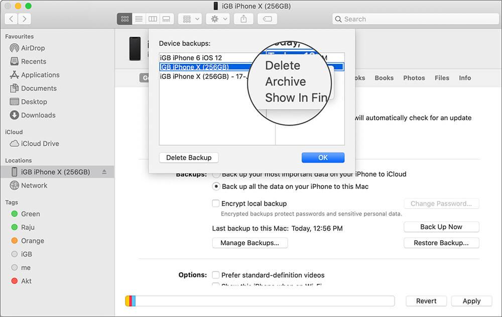 Архив резервного копирования iPhone на Mac Работает MacOS Catalina