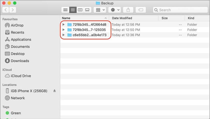 Расположение на iPhone Резервная папка в macOS Каталина