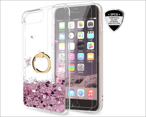 Прозрачный чехол-держатель с блестками LeYi для iPhone SE 2020