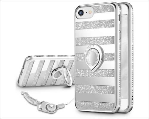 Чехол-подставка VEGO Bling Rhinestone Kickstand Ring Stand для iPhone SE 2020