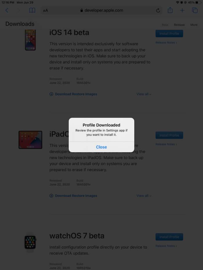 Tippen Sie auf Schließen im heruntergeladenen Profil. Popup auf dem iPad