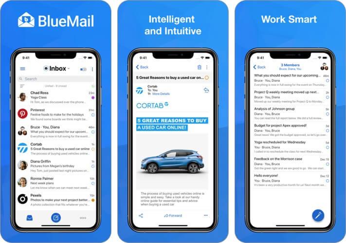 скриншот приложения электронной почты bluemail для iphone и ipad