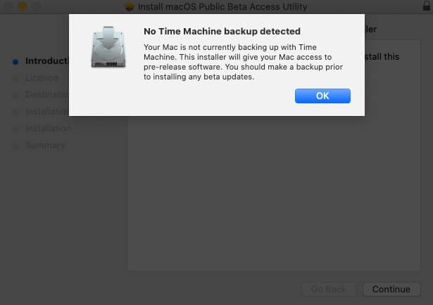 нажмите ОК, если не обнаружено резервное копирование машины времени
