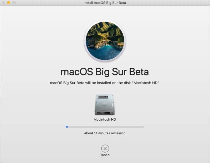 установка macos ошибка в публичной бета-версии на Mac