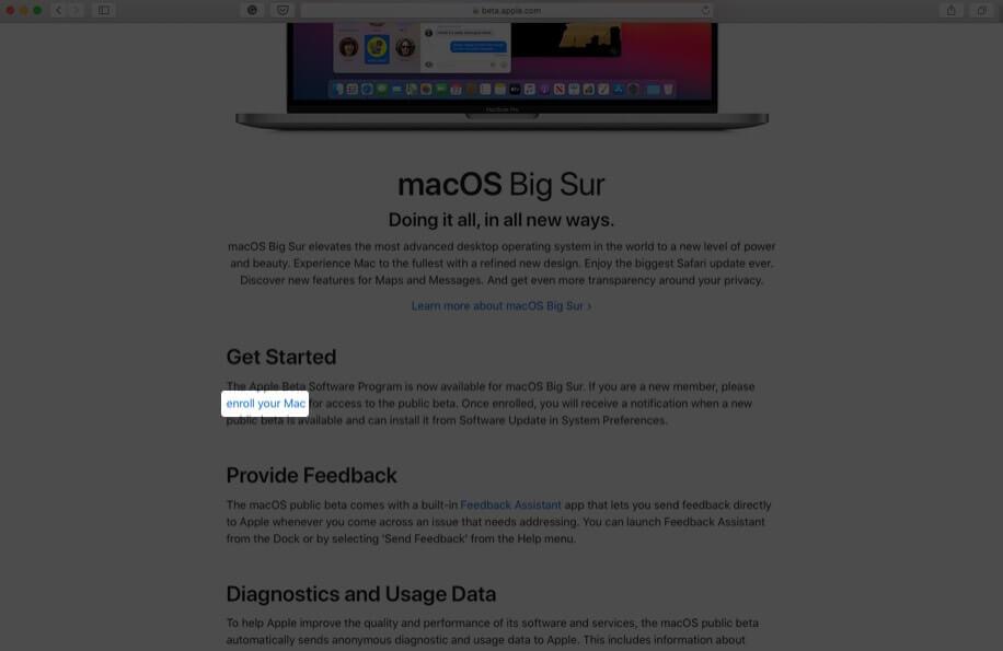 прокрутите вниз и нажмите «Зарегистрировать свой Mac»
