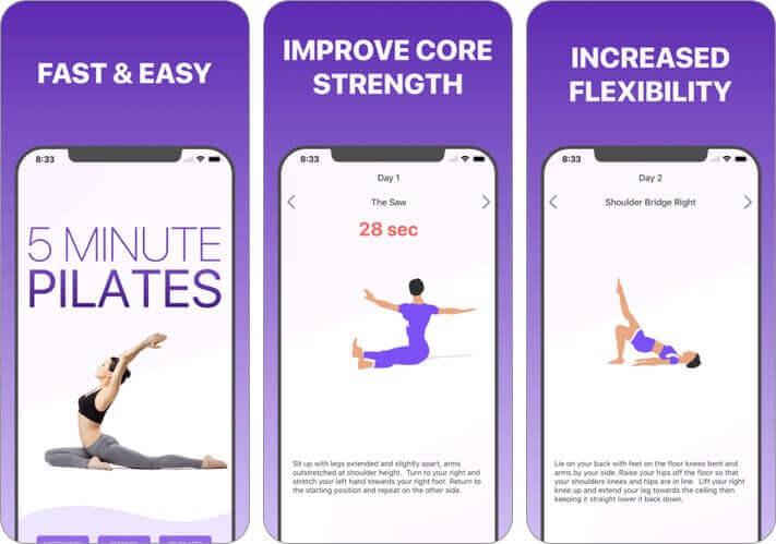 5-минутная тренировка пилатес, скриншот приложения для растяжки iphone и ipad