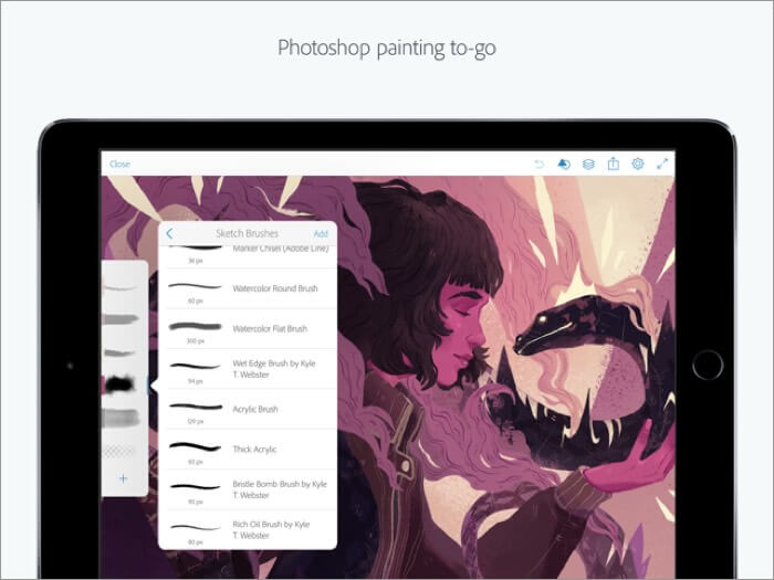 Скриншот приложения Adobe Photoshop для iPhone и iPad