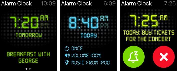 будильник hd скриншот приложения для Apple Watch