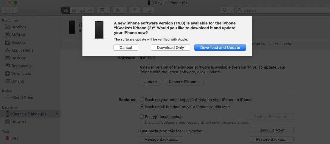 нажмите на загрузку и обновление, чтобы обновить iphone с помощью Mac Finder