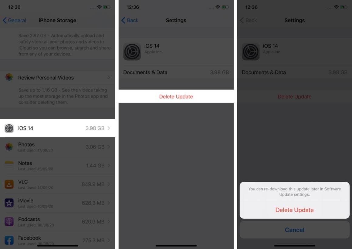 удалить загруженное обновление программного обеспечения на iphone