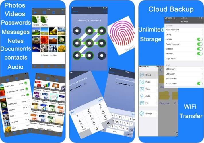 заблокировать фотографии секретное хранилище фотографий iPhone приложение скриншот