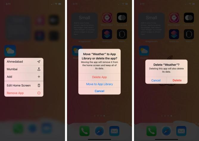 долгое нажатие на значок приложения погоды нажмите на удаление приложения, затем нажмите на удаление, чтобы удалить приложение погоды