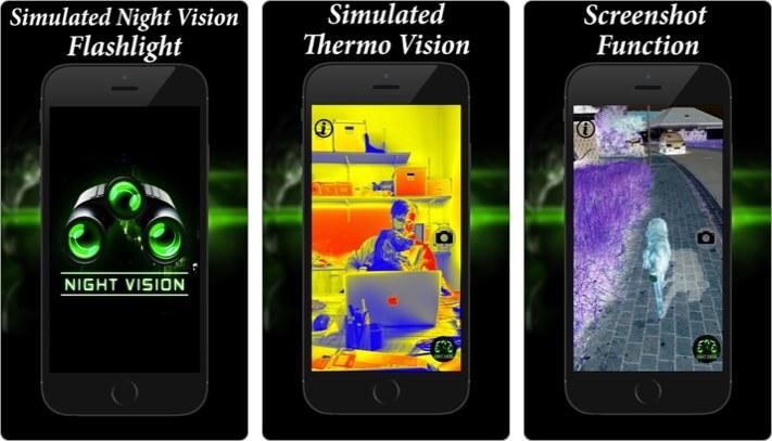 фонарик ночного видения термо iPhone и iPad скриншот приложения
