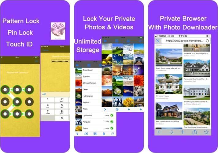 фото хранилище скрыть фото альбом iPhone приложение скриншот