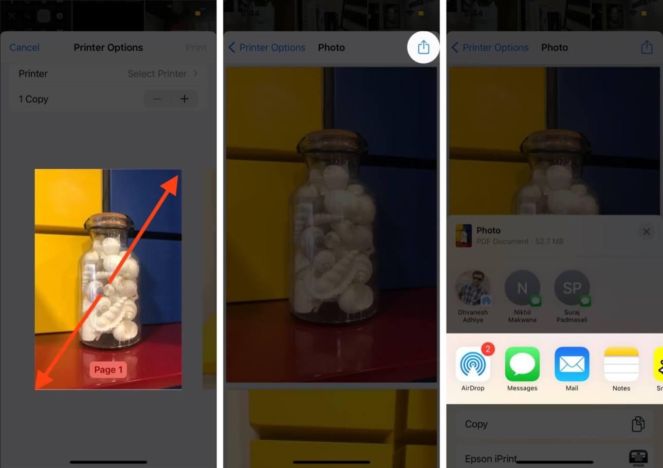 разведите миниатюру, нажмите на общий доступ и выберите вариант преобразования фотографии в PDF на iphone