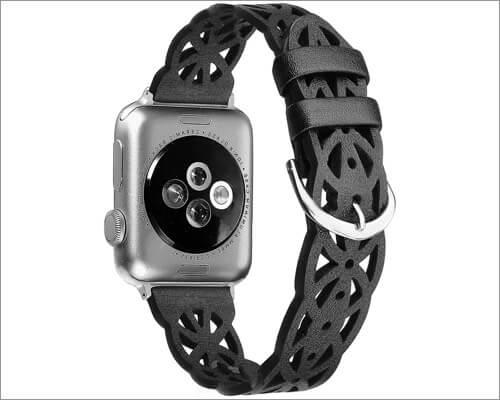 выдолбленный кожаный ремешок secbolt для apple watch series 5