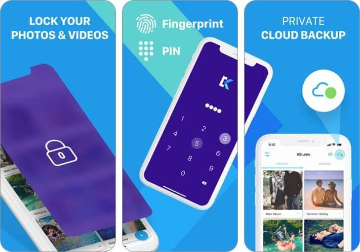секретное хранилище фотографий - скриншот приложения keepafe для iphone