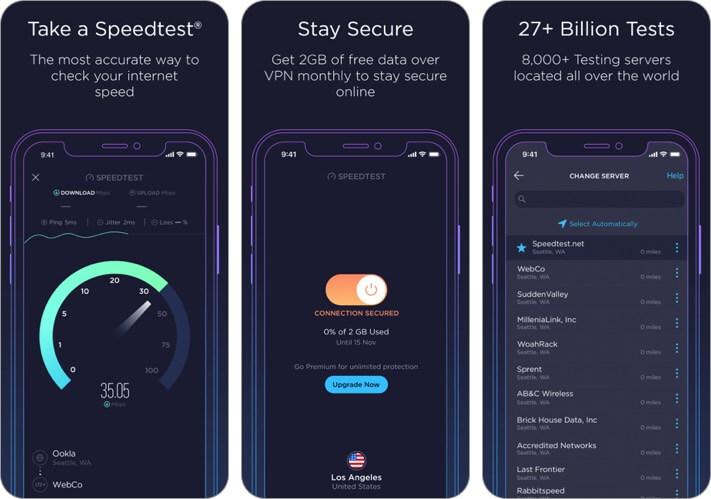 speedtest by ookla iphone и ipad снимок экрана приложения анализатора Wi-Fi