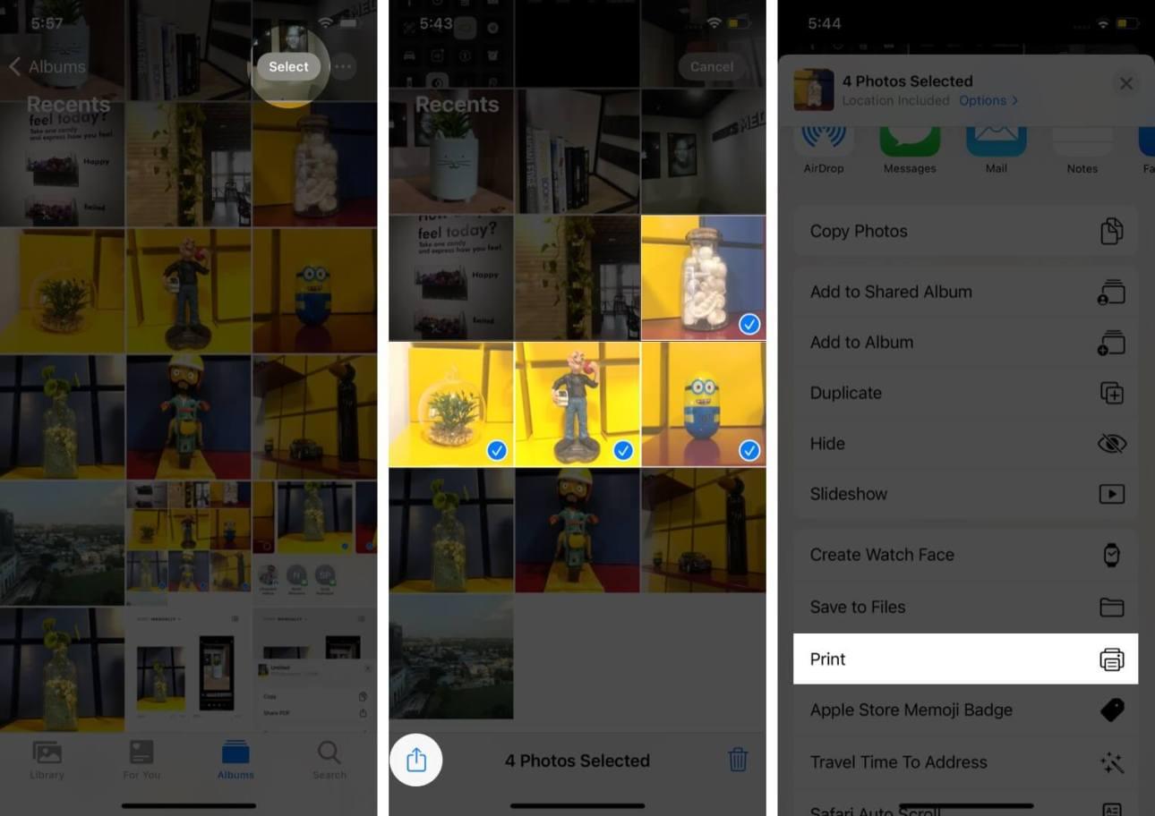 нажмите на выбор выберите фотографии нажмите на поделиться, а затем нажмите на печать в приложении фотографий на iphone