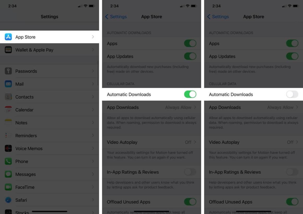 отключить автоматическую загрузку для магазина приложений в настройках iphone