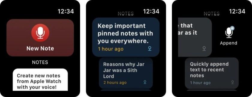 Скриншот приложения Bear Apple Watch Notes