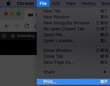 Нажмите «Файл» в строке меню, а затем выберите «Печать» на Mac.