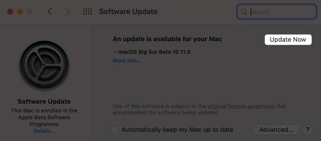 Нажмите «Обновить сейчас», чтобы обновить macOS.