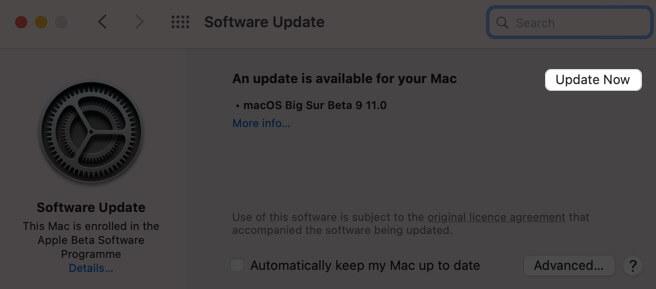 Нажмите «Обновить сейчас», чтобы обновить программное обеспечение на Mac.