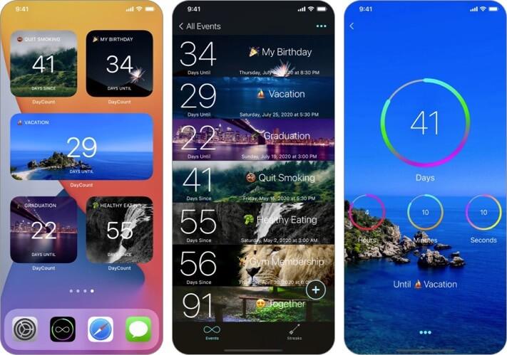 Снимок экрана приложения DayCount обратного отсчета для iPhone и iPad