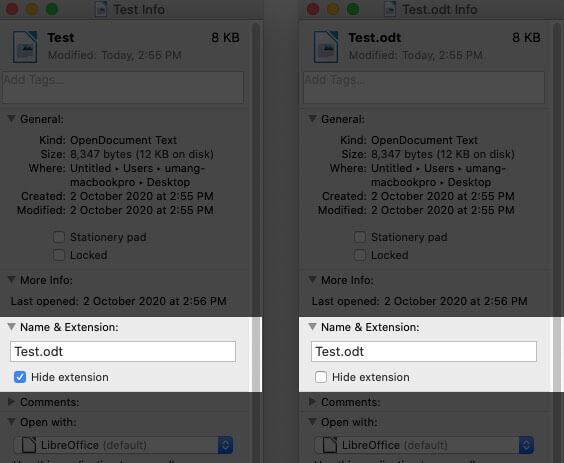 Включение или отключение опции отображения или скрытия расширения для одного файла на Mac