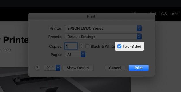 Выберите параметр «Двусторонняя печать» и нажмите «Печать» для двусторонней печати в Google Chrome на Mac.