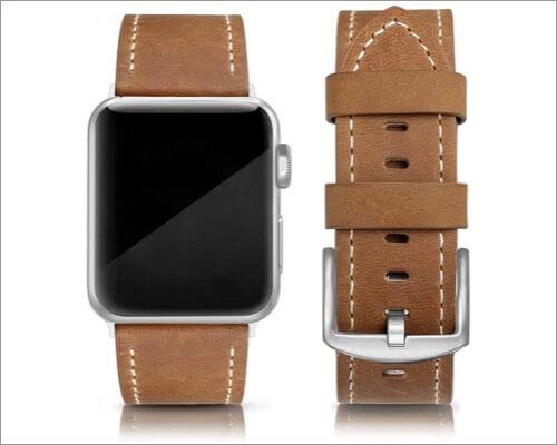 Классический кожаный ремешок Swees для Apple Watch Series 6, 5, 3 и SE