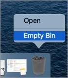 Нажмите Очистить корзину на Mac