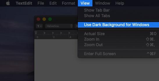 Klicken Sie auf Anzeigen und wählen Sie Dunklen Hintergrund für Windows auf Mac verwenden