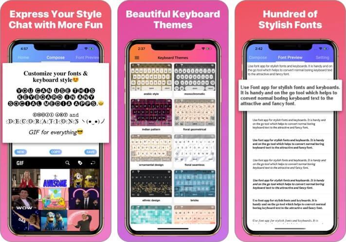 Coll Fonts Keyboard iPhone App Скриншот