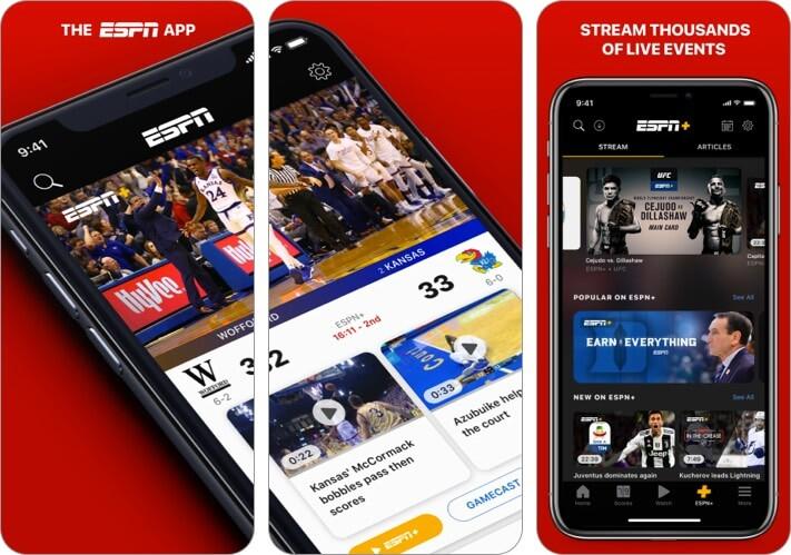 Снимок экрана спортивного приложения ESPN для iPhone и iPad
