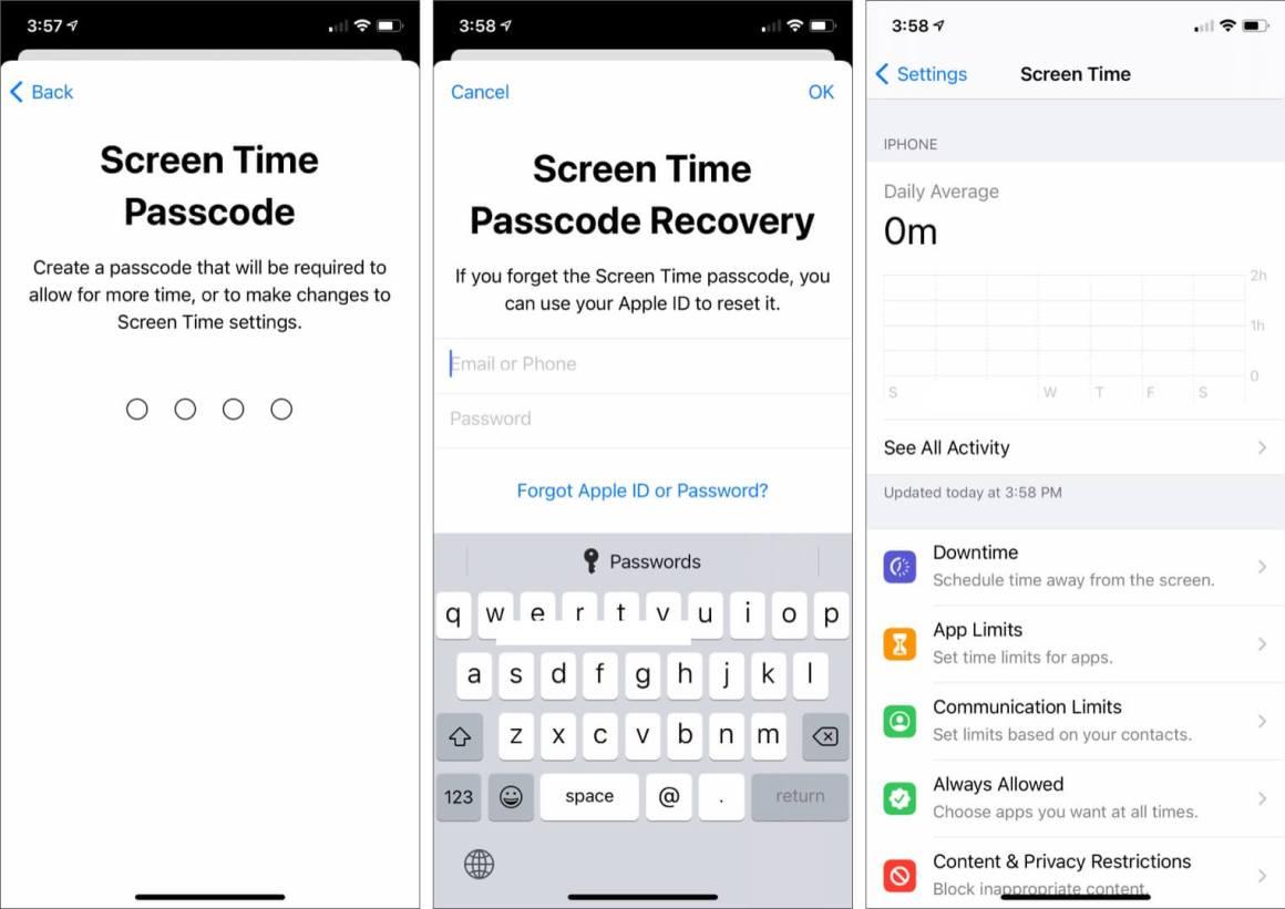 Введите пароль времени экрана и Apple ID для восстановления