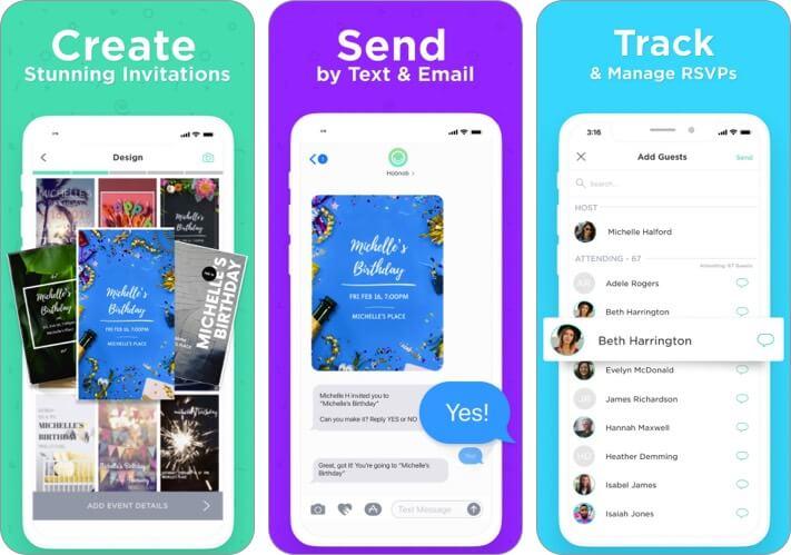 Создатель приглашений от Hobnob Скриншот приложения для iPhone и iPad