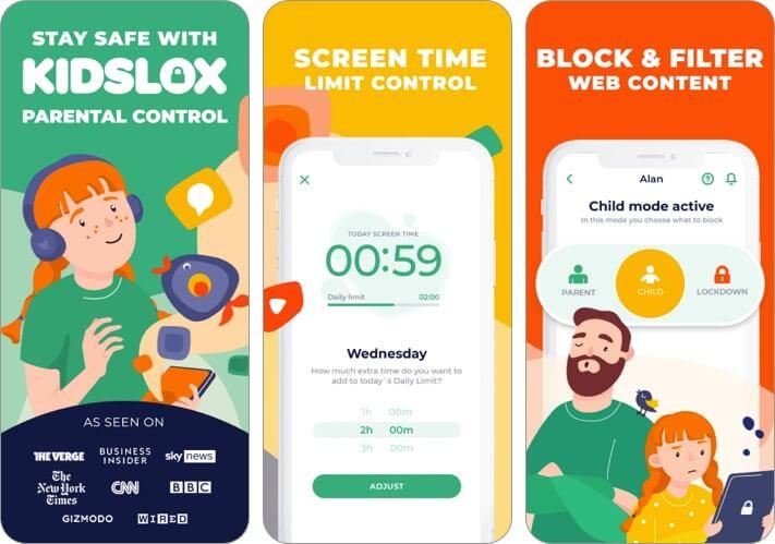 Скриншот приложения родительского контроля Kidslox для iPhone и iPad