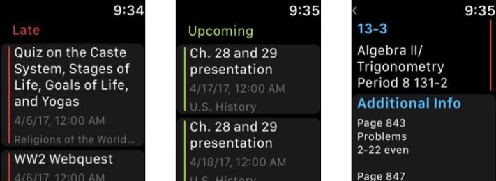 Скриншот приложения MyHomework Student Planner для Apple Watch