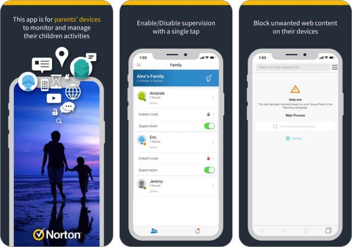 Скриншот приложения Norton Family для родителей для iPhone и iPad