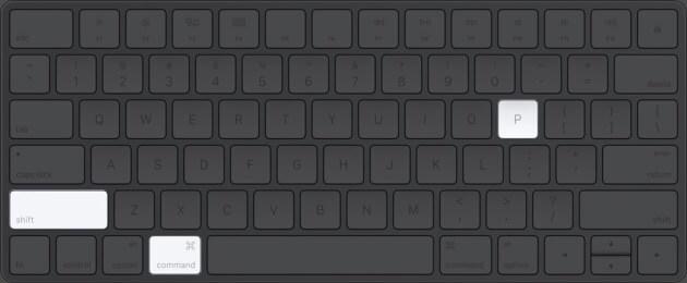 Нажмите Command Shift P на клавиатуре Mac