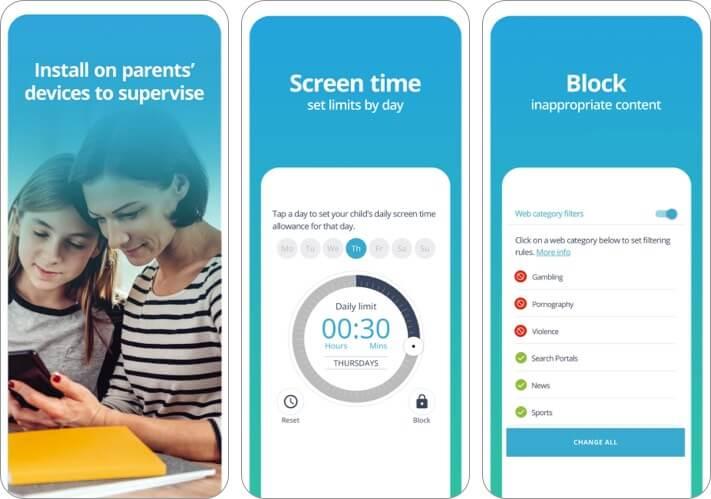 Снимок экрана приложения родительского контроля Qustodio для iPhone и iPad
