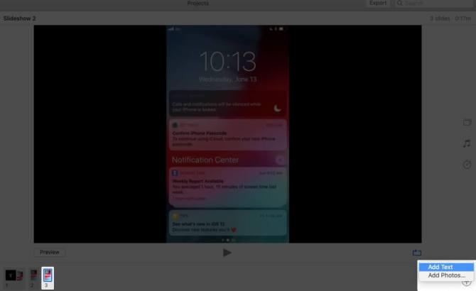 Выберите «Слайд». Нажмите «Плюс», а затем нажмите «Добавить текст» в приложении «Фото» на Mac.