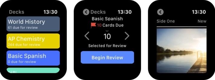 Смарт-карты с интервалом повторения Скриншот приложения Apple Watch