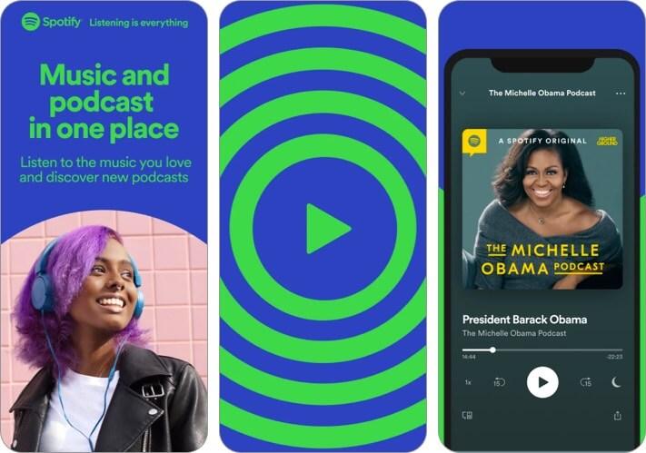 Снимок экрана развлекательного приложения Spotify для iPhone и iPad