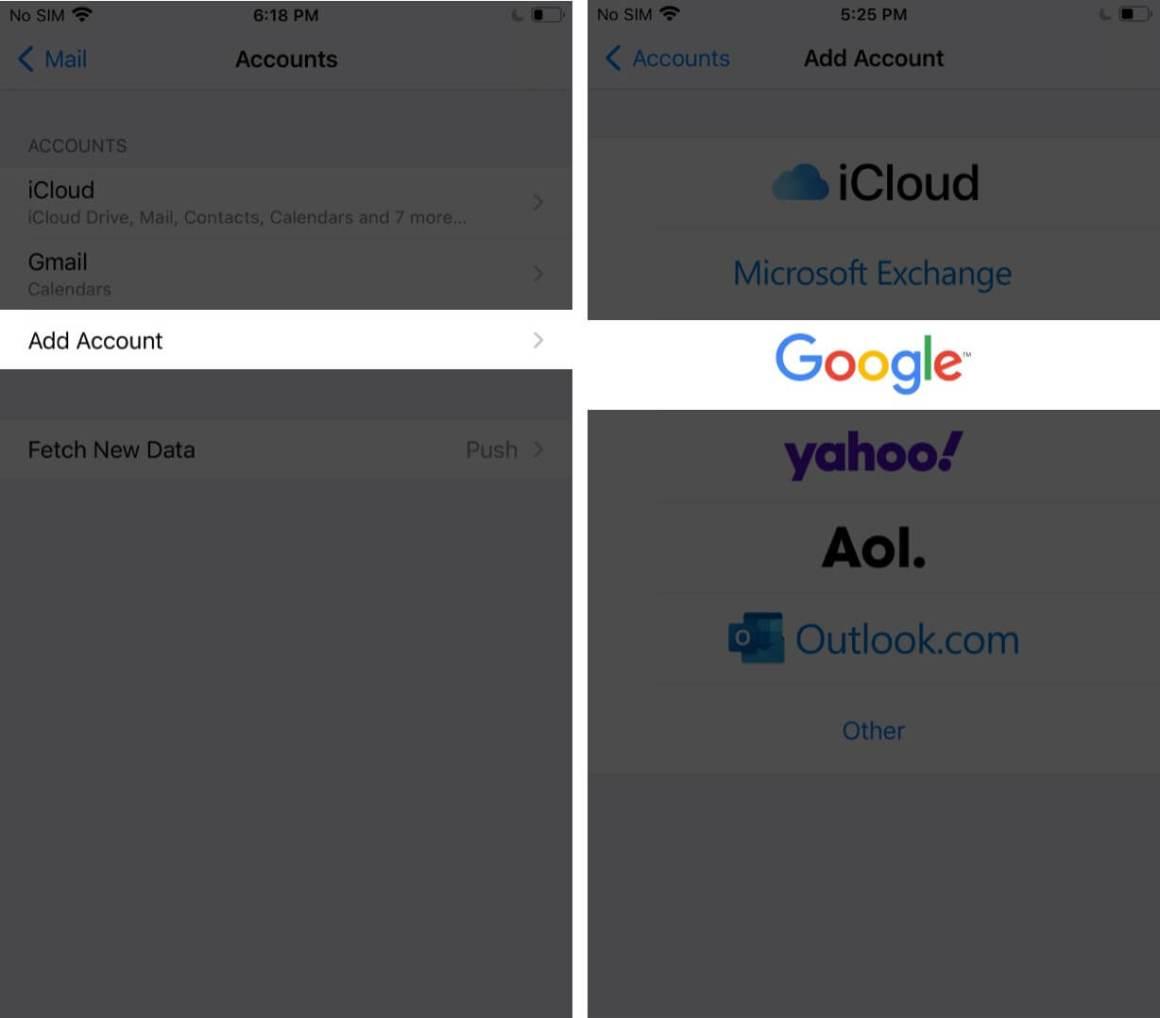 Нажмите на Добавить учетную запись, а затем нажмите на Google на iPhone.