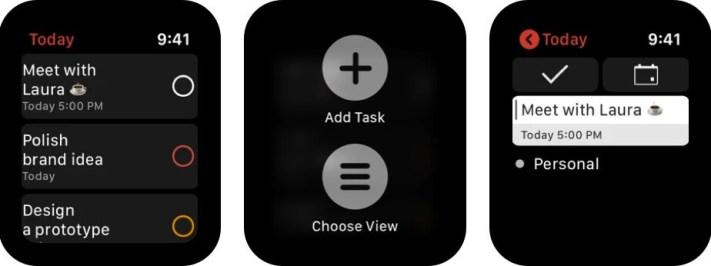 Скриншот приложения Todoist для Apple Watch