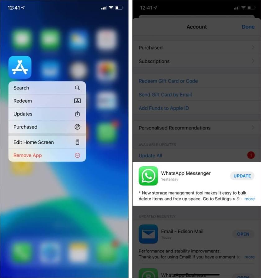 Обновите WhatsApp на iPhone