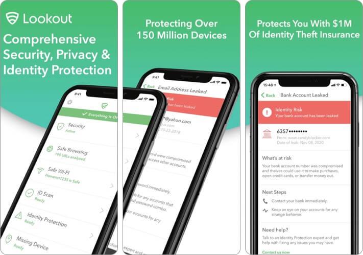 Скриншот приложения Lookout Mobile Security для iPhone и iPad